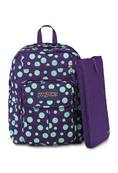 "Jansport - Mochila Digital Student 15"" Purple Night / Mint To Be Green Sylvia Dot"
