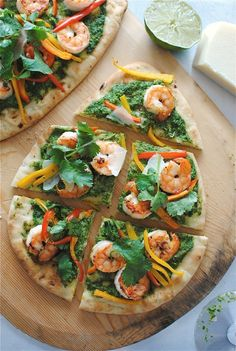 Shrimp Naan Pizzas with Thai Coconut Arugula Pesto
