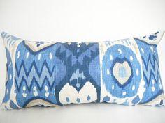 Blue Ikat Pillow Covers Lumbar Pillow Cover Navy by CityGirlsDecor