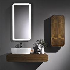 Meubles de salle de bains arrondi placage noyer Toto