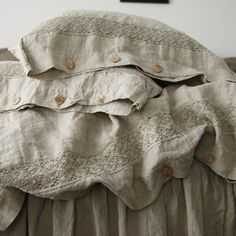 Linen pillowcase with french lace standard queen by mooshop