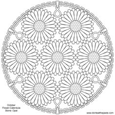 Mandala coloring pages - Birthstone and Flower mandalas a second option for October – Mandala coloring pages Coloring Book Art, Mandala Coloring Pages, Colouring Pages, Free Coloring, Mandala Art, Mandala Drawing, Mandala Design, Henna Mandala, Flower Henna