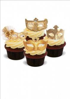 STUNNING MASQUERADE BALL GOLD MASKS MIX - Standups 12 Edible Standup Premium Wafer Cake Toppers - 2 x A5 sheet - 12 images