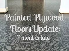 Painted Plywood Floor Update: The Good, The Bad, and The Ugly - Lovely Etc. I am so DOING this to the extra room! Painted Plywood Floors Update: The Good, The Bad, and The Ugly - Lovely Etc. Cladding Materials, Wood Cladding, Painted Plywood Floors, Plywood Subfloor, Staining Plywood, Cork Flooring, Flooring Ideas, Laminate Flooring, Decorating Tips