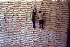 """""""I love this photo because it captures the scope of WFP's work. Here in DC, we often struggle to put into relatable terms just how much food WFP delivers each day to people around the world. Metric tons? Millions of pounds? This photo illustrates the sheer size of WFP's food assistance. Each of those bags of grain represent hope to a hungry family in need."""" — M.J. Altman, WFP USA Senior Editor. Photo by WFP/Olav A. Saltbones."""