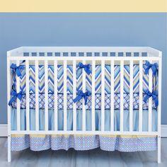 Asher Blue Chevron Baby Bedding  3 Piece by CadenLaneBabyBedding, $389.00