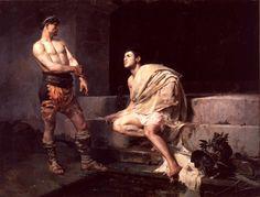 José Moreno Carbonero (Spanish, 1858-1942), La meta sudante (Los gladiadores), 1882. Oil on canvas. Museo de Málaga.