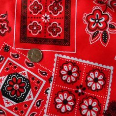 VINTAGE Fabric red handkerchief bandana geometric 6 yards sewing craft fashion #Unknown  #BigBoyTumbleweed