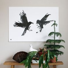 The Raging ravens art print is part of a special art series that helps support nature conservation. The art print is printed on high-quality off-white paper, which is FSC certified for responsible forestry. Sustainable Gifts, Sustainable Design, Wall Art Prints, Fine Art Prints, All Poster, Poster Frames, Posters, Raven Art, Art Series