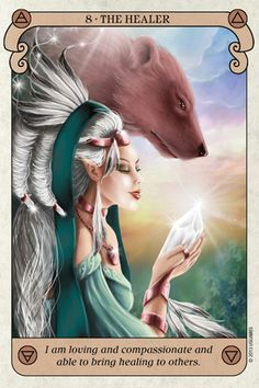 """Today's Angel Card Message  Message from Healer:  The Healer - """"I am loving and compassionate and able to bring healing to others.""""  8 represents: """"The number 8 signifies abundance and prosperity. The endless loops in the number signify an infinite flow of money, time, ideas, or whatever else you require   Read more: http://www.online-tarot-readings-by-amber.info/angel.html"""