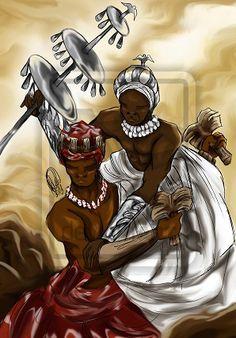 Shango/Xangô, Orisha of thunder, and his father Oshalufon/Oxalufan by Orádia N.C Porciúncula (Brazil) Black Love, Black Is Beautiful, Black Art, African American Art, African Art, American History, Orishas Yoruba, Yoruba Religion, Yoruba People