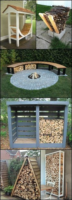 Firewood Storage Ideas http://theownerbuildernetwork.co/ideas-for-your-rooms/home-storage-gallery/firewood-storage-ideas/ Do you have a wood burning fireplace or even a fire pit at home? If you use one to make your house warm and cosy during the winter, you might want to look at this collection of great firewood storage ideas! #woodworkingideas