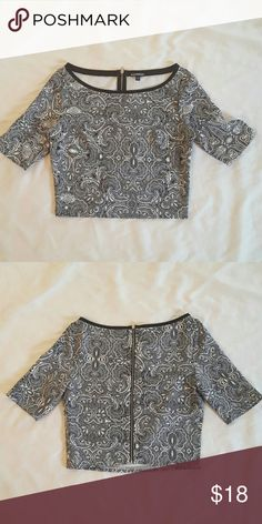 Doesn't fit Paisley zip back crop top, dressy material with stretch Express Tops Crop Tops