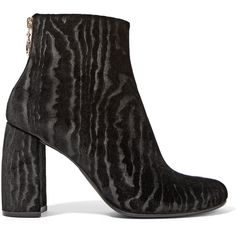 Stella McCartney Flocked velvet ankle boots ($660) ❤ liked on Polyvore featuring shoes, boots, ankle booties, zip ankle boots, black high heel ankle booties, ankle boots, black ankle booties and black bootie