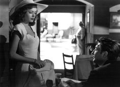 """OUT OF THE PAST"" (1947), directed by Jacques Tourneur, film noir where who you see are not what they're cracked up to be. Robert Mitchum and Jane Greer, here . . . in #AbsolutelyKate's #screengems. Do Enjoy . . . encouraged this noir/crime/thriller author, scribing #novel to be."