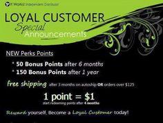 It Works loyal customer rewards