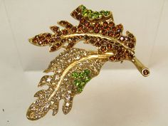 Kenneth Jay Lane Autumn Leaf Pin  S1958 by SCLadyDiJewelry on Etsy