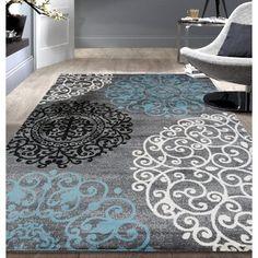 Floral Area Rugs, Blue Area Rugs, Hallway Colours, Area Rugs For Sale, 8x10 Area Rugs, Cream Area Rug, Swirl Design, Decoration, Modern Contemporary