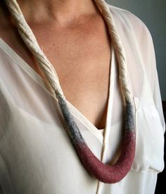 Crescent Necklace - Hand Felted Merino Wool and Cotton Gauze - Dusty Pink, Grey and Cream