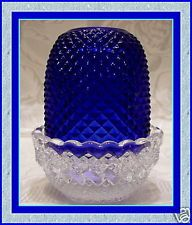 Mosser Glass Cobalt Blue/Crystal Hobnail Fairy Lamp