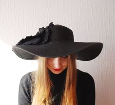 SALE OVERSIZED hat  Designer decorated hat  Wide by LALcouture