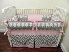 Baby Bedding Crib Set Daphne - Gray Chevron Elephants Pink : Just Baby Designs, Custom Baby Bedding Custom Crib Bedding Custom Nursery Bedding