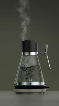 Elevated Glass Kettle on Behance Kitchen Utensils, Kitchen Gadgets, Kitchen Tools, Kitchenware, Tableware, Industrial Design Sketch, Cafetiere, Küchen Design, Product Design