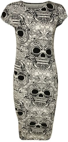 Amazon.com: PaperMoon Women's Skull Print Short Sleeve Midi Dress