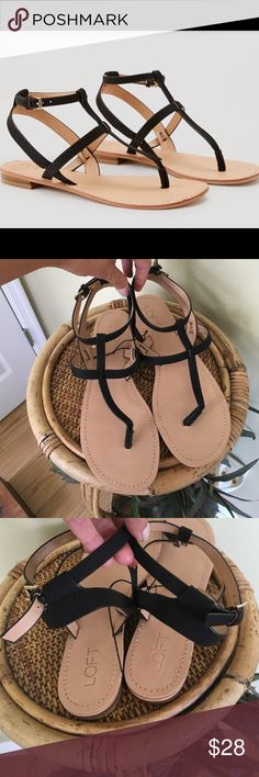 """LOFT STRAPPY SANDALS Brand new with tags.  Super cute for the summer.  Adjustable ankle strap.  Made from all manmade materials.  These measure approx 10.25"""" from heel to toe.  TRADESLOWBALL LOFT Shoes Sandals"""