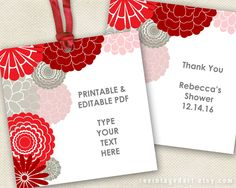 Printable Red Tags // Floral Design with Red & Gray Modern Flowers ...