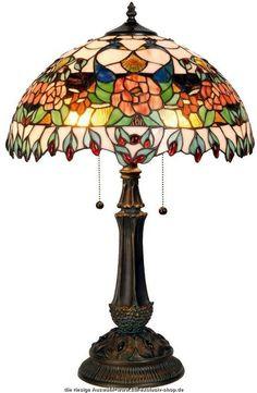klassische TIFFANY-Tischlampe CORK.  ca. 67 cm hoch, 51 cm ø, 2x E-27, je max. 60 W.  ...besteht aus vielen einzelnen Glasteilen, sorgfältig ausgesucht und liebevoll hand gefertigt
