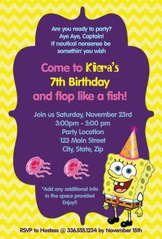 Girls Spongebob Birthday Invitation on Etsy, $10.00