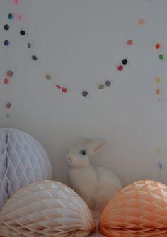 Honeycomb pompoms, pretty garland, Rabbit Lamp