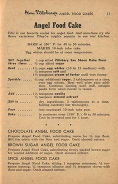 me ~ Vintage Ann Pillsbury Angel Food Cake Recipe Angel Food Cake Desserts, Angle Food Cake Recipes, Food Cakes, Cupcake Cakes, Dessert Recipes, Cupcakes, Retro Recipes, Old Recipes, Vintage Recipes