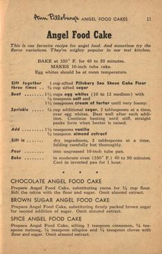 """Angel Food Cake""-- Shared from Vintage Recipes"
