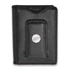 Sterling Silver NHL LogoArt Detroit Red Wings Black Leather Wallet