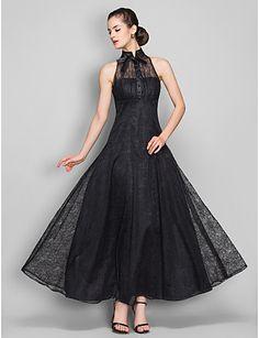 vestido de noche de encaje una línea de alta cuello hasta los tobillos (699490) - USD $ 99.99