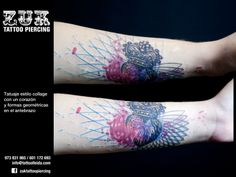 Tatuaje estilo collage con un corazón y formas geométricas en el antebrazo