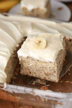This is, hands down, the BEST banana cake I've ever had. It's soft, fluffy, moist and rich all at the same time! Once cooled this cake is topped with a totally irresistible lemon cream cheese frosting. Lemon Cream Cheese Frosting, Cake With Cream Cheese, Easy Desserts, Dessert Recipes, Picnic Recipes, Baking Desserts, Cake Baking, Health Desserts, Banana Sheet Cakes