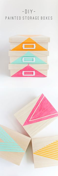 Fun DIY Ideas for Your Desk - Painted Storage Box - Cubicles, Ideas for Teens and Student - Cheap Dollar Tree Storage and Decor for Offices and Home - Cool DIY Projects and Crafts for Teens diyprojectsfortee. Paint Storage, Wood Storage Box, Diy Storage, Lego Storage, Diy Projects To Try, Craft Projects, Craft Ideas, Fun Ideas, Navidad Diy