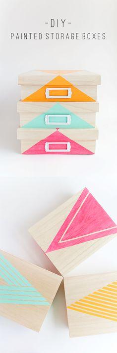 DIY painted storage boxes | Cajas para organizar super coloridas
