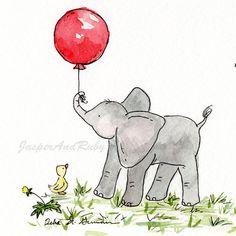 Elephant Nursery Art- Ellie's Red Balloon - 5X7 Archival PRINT for Baby or Children