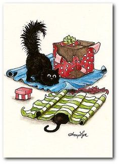 Christmas Wrapping Paper Wiggle Black Cats Holiday FuN by BiHrLe LE Print ACEO