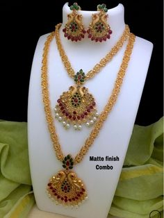 Awesome Gold Matt Temple Jewellery Combo Set With Earrings by CKSTORE - Online shopping for Jewellery Sets on MyShopPrime - Indian Jewelry Sets, Women's Jewelry Sets, Back Jewelry, Pendant Jewelry, Jewellery Earrings, Bridal Jewellery, Handmade Jewellery, Gold Pendant, Bling Jewelry