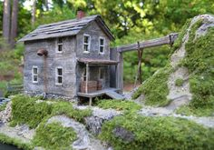 Back view of an old Water Mill.  HO Scale Model Train Building.