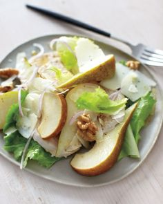 Poached Chicken, Pear, and Walnut Salad