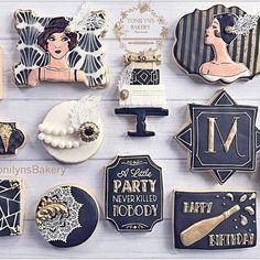 Gatsby inspired birthday cookies Speakeasy Party, Gatsby Themed Party, Great Gatsby Party, 1920s Party, Gatsby Wedding, Galletas Cookies, Cute Cookies, Cupcake Cookies, Sugar Cookies