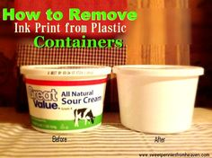 How to Remove Ink From Plastic Containers so You Can Reuse Them. How to remove factory printed labels from plastic containers. How to remove labels from plastic containers House Cleaning Tips, Diy Cleaning Products, Cleaning Solutions, Cleaning Hacks, Homemade Products, Reuse Plastic Containers, Plastic Recycling, Recycling Containers, Recycling Ideas
