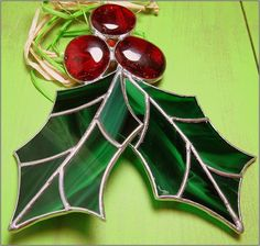 Holly Berry  3 D Stained glass big Christmas ornament via Etsy.