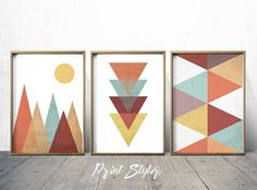 Nordic Art Wall Decor - Mountain Art - Moon Print - Geometric Poster - Geometric wall art PRINTING OPTIONS This is a set of 3 prints Archival Quality Giclee Prints My prints are carefully printed by myself using the best print technologies available today. UltraChrome